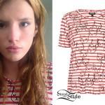 Bella Thorne: Striped Cat Print T-Shirt