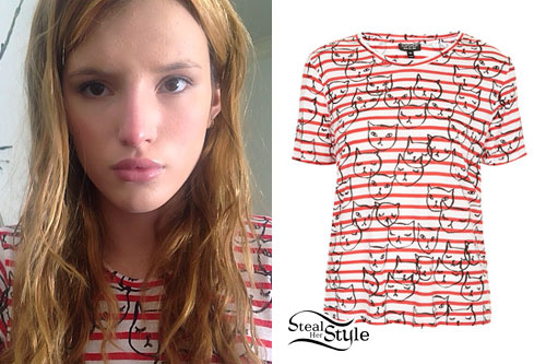 Bella Thorne: Striped Cat Print T-Shirt