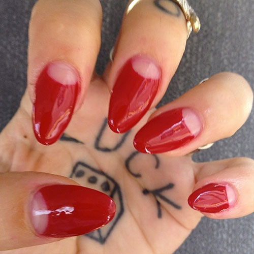 half moon nails red - photo #6