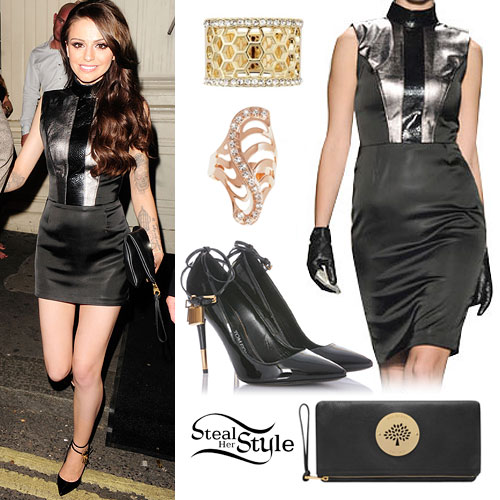 Cher Lloyd: Panelled Dress, Padlock Pumps