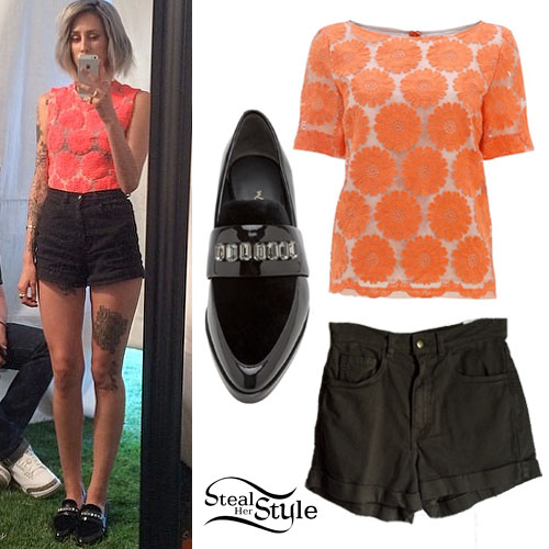 DEV: Coral Flower Top, Jeweled Loafers