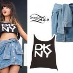 Foxes: DKNY Crop Top, Denim Skirt