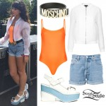 Foxes: Neon Orange Bodysuit, Demin Cutoffs