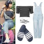 Foxes: Stripe Crop Top, Adidas Sandals