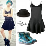 Hayley Williams: Black Dress, Bowler Hat