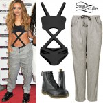 Jade Thirlwall: Cutout Bodysuit, Grey Pants
