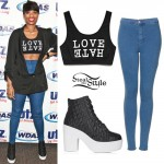 Jennifer Hudson: Love Hate Bralet, Quilted Boots