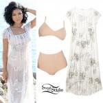 Jhené Aiko: Sheer Beaded Maxi Dress