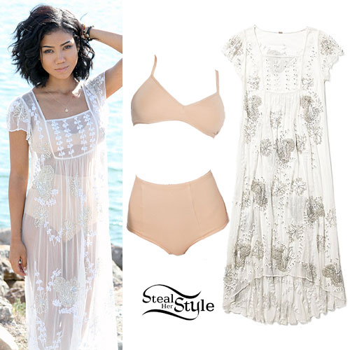 Jhené Aiko: Sheer Beaded Maxi Dress