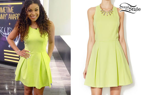 Jordin Sparks: Neon Yellow Skater Dress