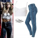 Juliet Simms: White Bustier, Acid Wash Jeans