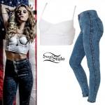Juliet Simms: White Bustier, Acid Wash Jeans