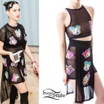 Katy Perry: Mesh Cartoon Print Top & Skirt