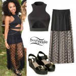 Leigh Anne Pinnock: Cutout Top, Mesh Skirt