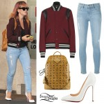 Lily Allen: Maroon Bomber Jacket Outfit