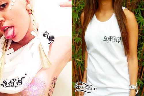 Miley Cyrus: White 'SMHP' Tank Top
