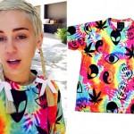 Miley Cyrus: Tie Dye Alien Print T-Shirt