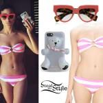 Natalia Kills: Pink & White Stripe Bikini