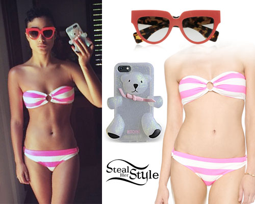 Natalia Kills: Pink & White Stripe Bikini