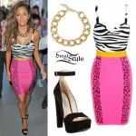 Nicole Scherzinger: Pink Zebra Striped Dress