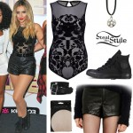 Perrie Edwards: Baroque Bodysuit, Leather Shorts