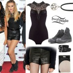Perrie Edwards: Lace Bodysuit, Leather Shorts