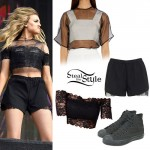 Perrie Edwards: Lace Top & Shorts Outfit