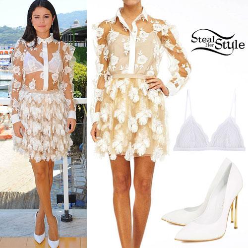 Selena Gomez: Rose Shirt, Feather Skirt