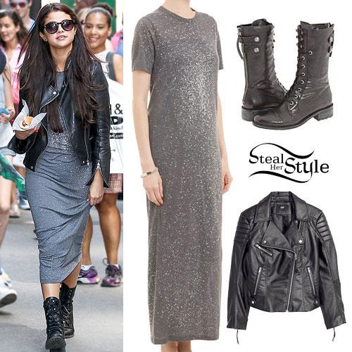 Selena Gomez: Maxi Dress, Combat Boots
