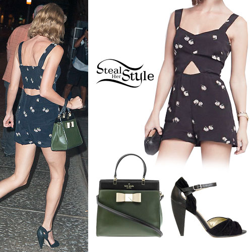 Taylor Swift: Cutout Romper, Black Sandals
