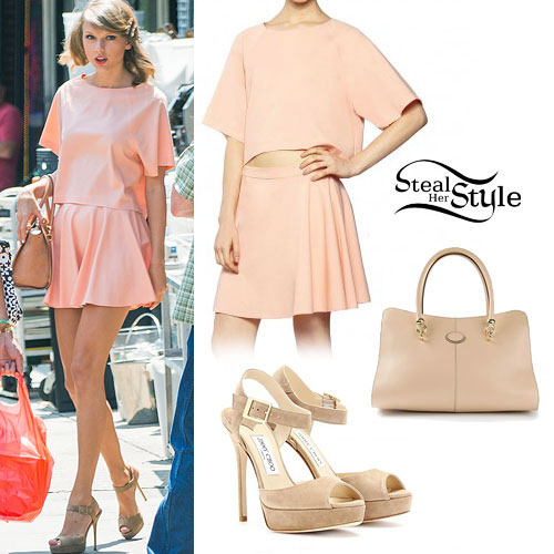 Taylor Swift: Peach Top & Skirt, Nude Bag