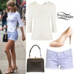 Taylor Swift: Cut-Out Top, Striped Shorts