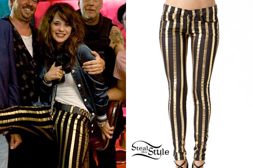 Zooey Deschanel: Gold & Black Striped Jeans