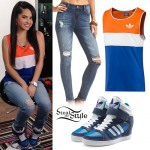 Becky G: Colorblock Tank, Blue High-Top Sneakers