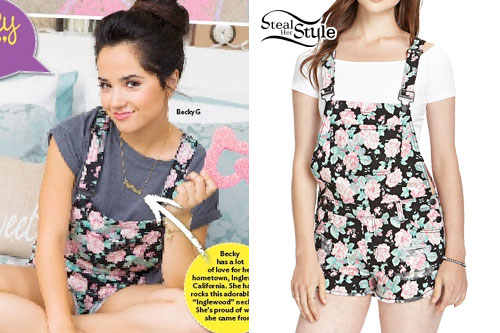 Becky G: Black Floral Overall Shorts