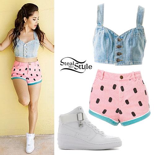 Becky G: Denim Bustier, Watermelon Shorts