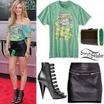 Bella Thorne: Ninja Turtles Tee, Leather Skirt
