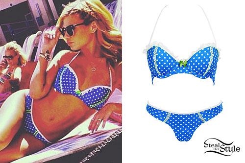 Chanel West Coast: Blue Polka Dot Bikini