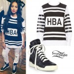 Ciara: HBA Sweatshirt, Leather High-Tops