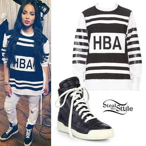 Ciara: HBA Sweatshirt, Leather High-Tops