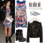 Demi Lovato: Printed Dress, Leather Jacket