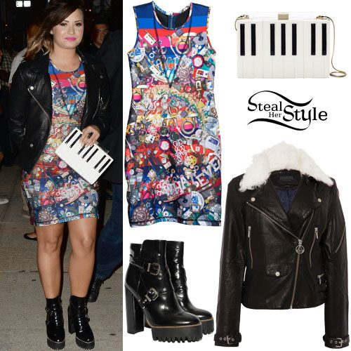 Demi Lovato: Printed Dress, Leather Jacket