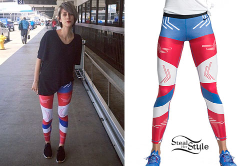 DEV: Red White & Blue Colorblock Leggings