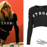 Ellie Goulding: Long Sleeve 'Strong' Crop Top