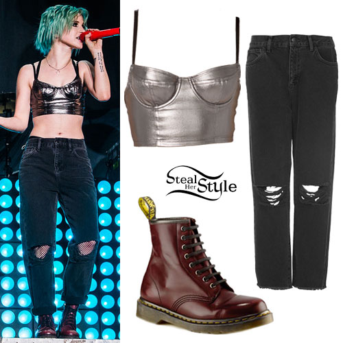 Hayley Williams: Metallic Bustier, Boyfriend Jeans