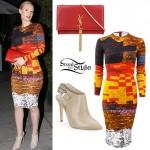 Iggy Azalea: Mixed Print Dress, YSL Bag