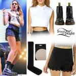 Jade Thirlwall: Crop Top, Black Shorts