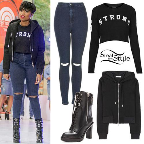 Jennifer Hudson: Crop Hoodie, Studded Boots