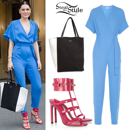 Jessie J: Blue Jumpsuit, Red Gladiator Sandals
