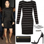 Jessie J: Bandage Dress, Black Sandals